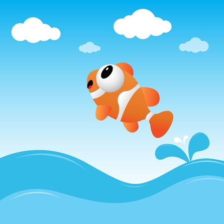clown fish: Fish jumping out of the water Illustration