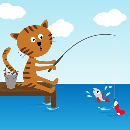 patience: Cat fishing at summer sunny day