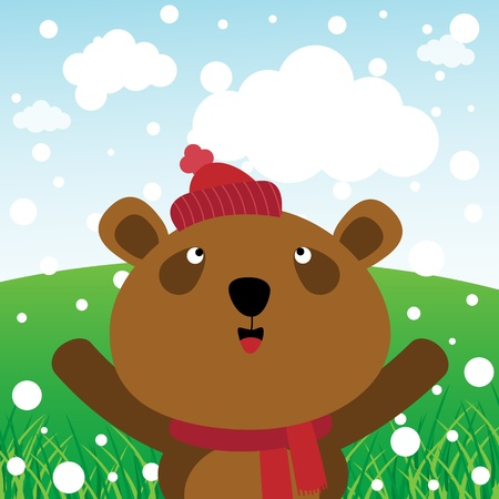 glad: Bear and snow in the forest