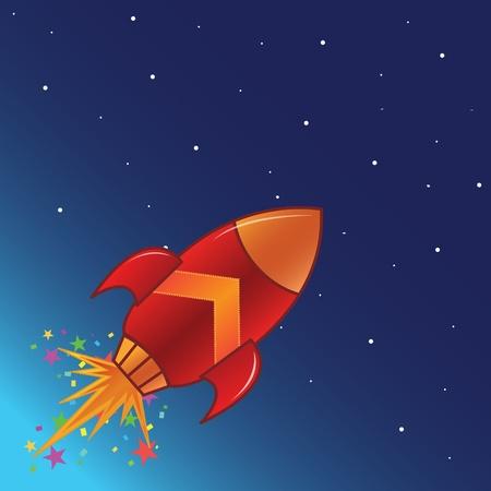 cartoon rocket: The flying rocket in space