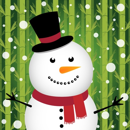 Snowman with snow on bamboo background Vector