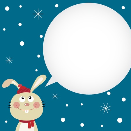 Christmas card with cute rabbit Vector
