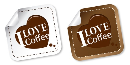 I love coffee stickers Vector