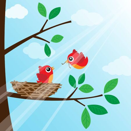 Loving bird feeding Vector
