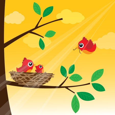 bird nest: Loving bird feeding in the morning Illustration