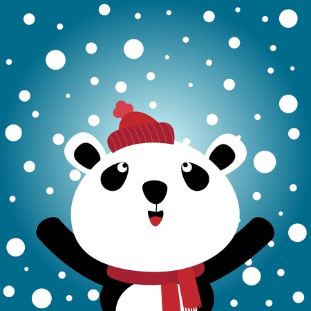 Panda and snowy background Vector