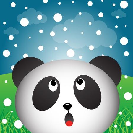 Panda with snow Vector