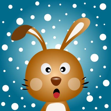omnivore: Brown rabbit with snowy background Illustration