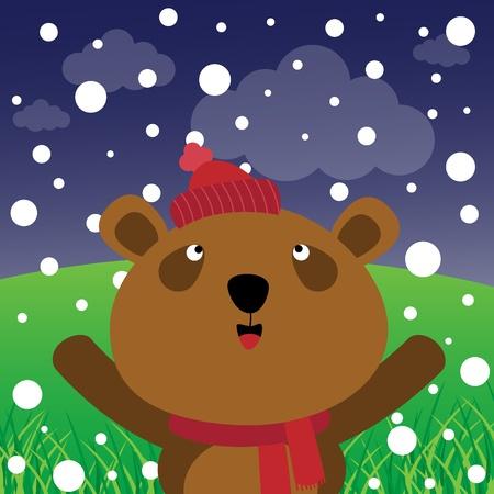 osos navideños: Oso y la nieve en el bosque