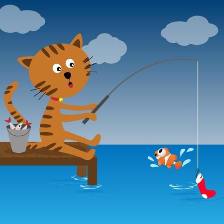 Cat fishing at summer sunny day Vector