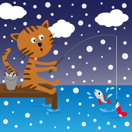 Cat fishing at winter day Vector