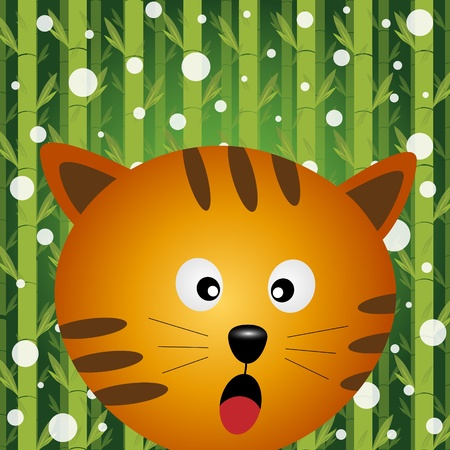Cat and snow on bamboo background Stock Vector - 11313276