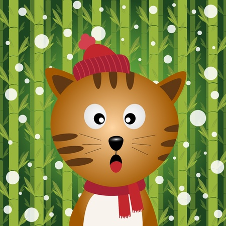 Cat and snow on bamboo background Vector
