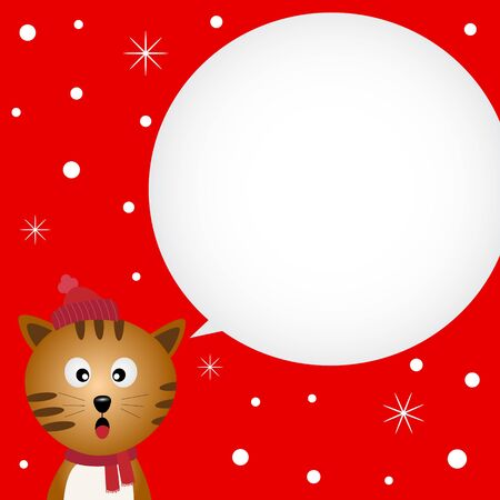 Christmas card with cute cat Vector
