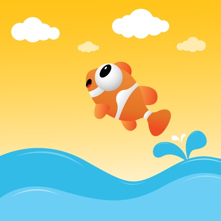 Fish jumping out of the water Stock Vector - 11313227
