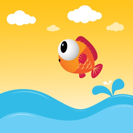 cartoon swimming: Fish jumping out of the water Illustration