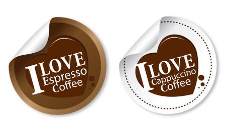 cafe bar: Ik hou van koffie stickers (espresso en cappuccino) Stock Illustratie