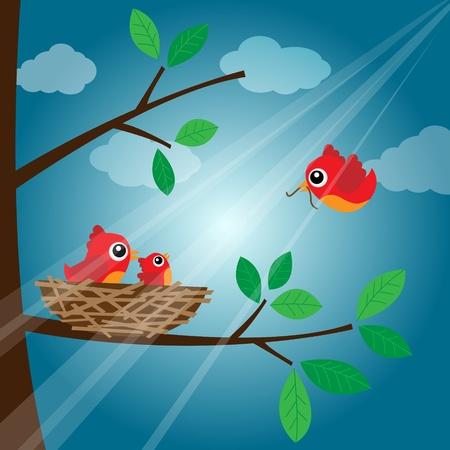 nest egg: Loving bird feeding in the evening Illustration