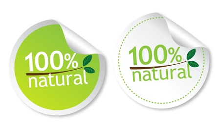 100% natural stickers Stock Vector - 11313264