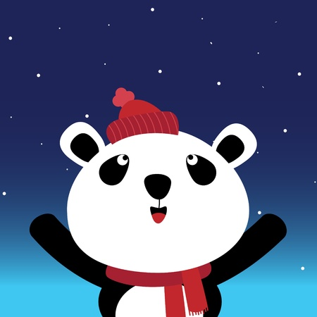 Panda in the night sky Vector