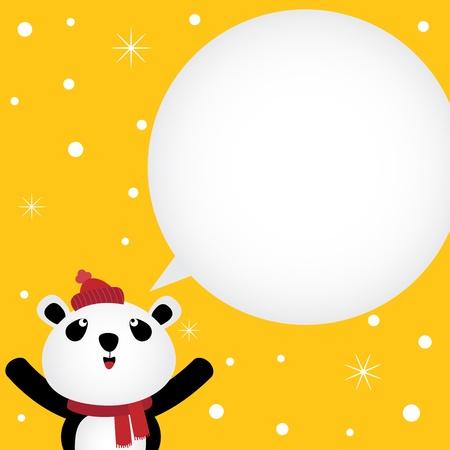 Christmas card with panda Vector