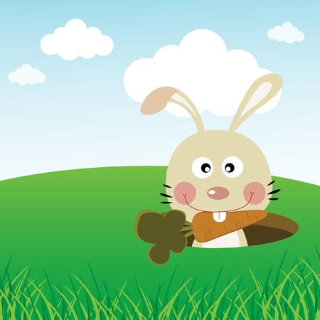 Cute rabbit carrying a carrot with its teeth Vector