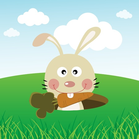 catoon: Cute rabbit carrying a carrot with its teeth