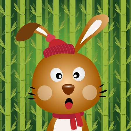 Brown rabbit with bamboo background Vector