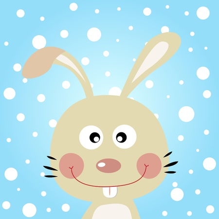 Rabbit with snowy background Vector