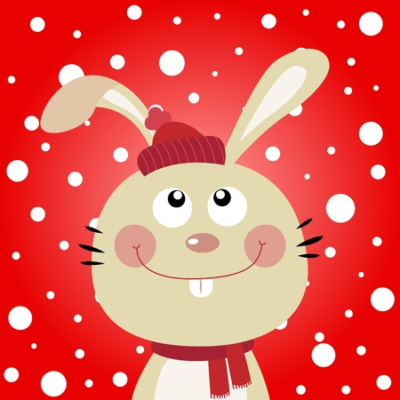 catoon: Rabbit with snowy background Illustration