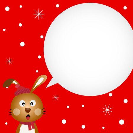 Christmas card with cute rabbit Vector