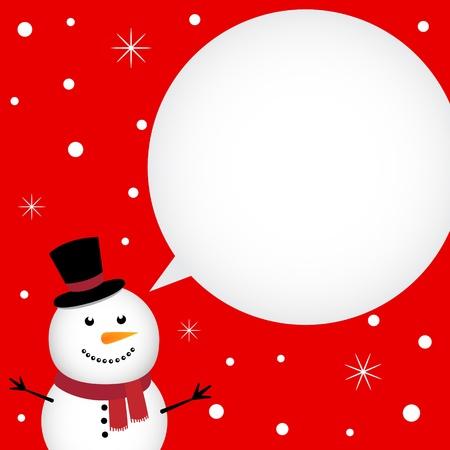 Christmas card with happy snowman Vector