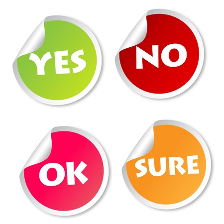 Yes, No, Ok and Sure stickers Vector