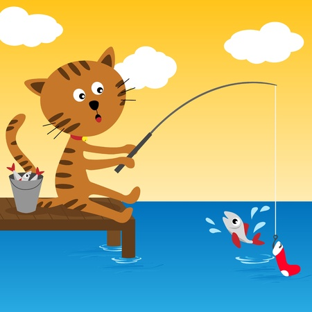 Cat fishing at summer sunny day Vector
