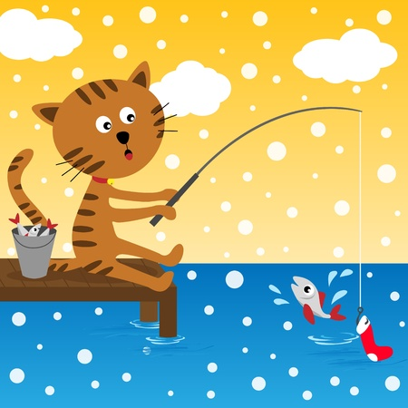 Cat fishing at winter day Illustration