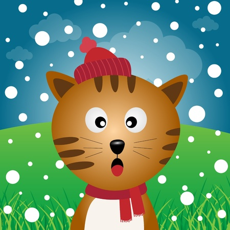 Cat and snow in the forest Vector