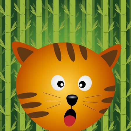 Cat with bamboo background Vector