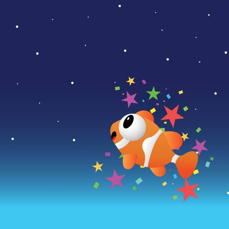 Fish in the night sky with color stars Vector