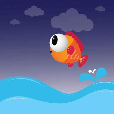 fly fish: Fish jumping out of the water Illustration