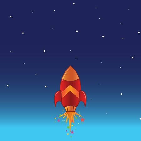 outer: The flying rocket in space