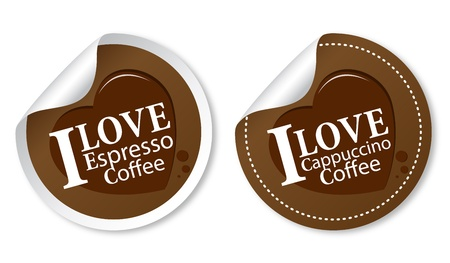 I love coffee stickers (Espresso and Cappuccino) Vector