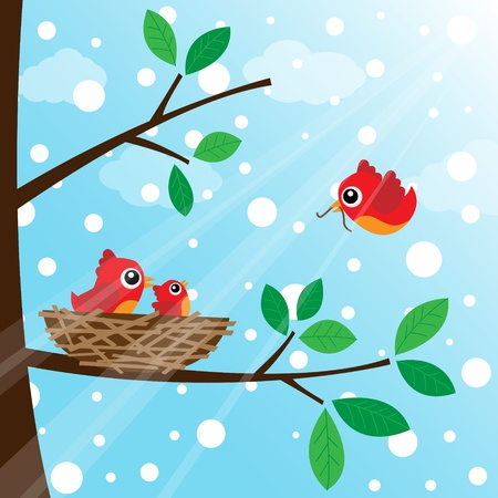 Loving bird feeding in the morning with snow Illustration