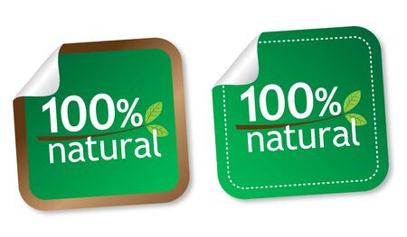 100% natural stickers Stock Vector - 11568473