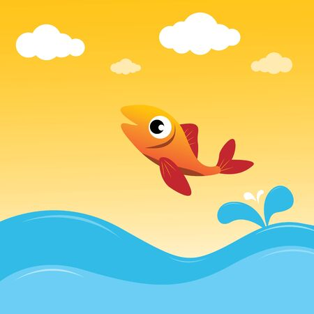 red fish: Fish jumping out of the water Illustration