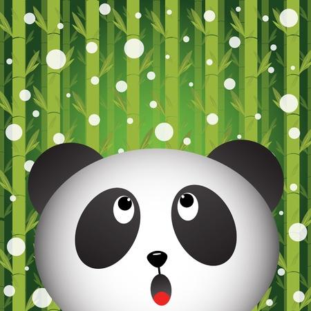 giant panda: Panda and snow on bamboo background Illustration