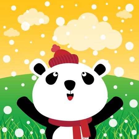 osos de peluche: Panda con la nieve en el bosque