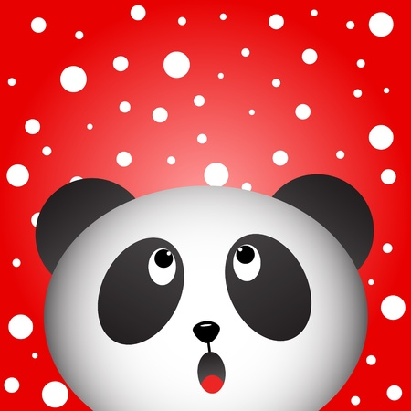 Panda with snowy background Vector
