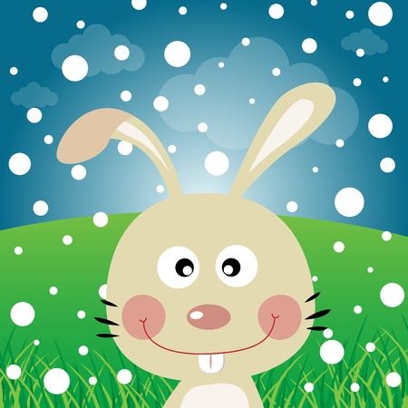 catoon: Rabbit with snow in the forest