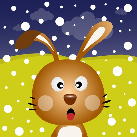 catoon: Brown rabbit with snow in the forest