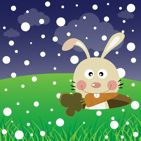 Rabbit with snow in the forest Vector